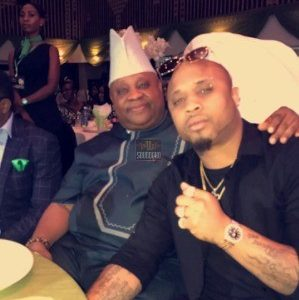 B-Red poses with his father Sen. Ademola Adeleke at an event (Photos)