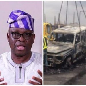 'My expensive Mercedes G-Wagon was set ablaze by my 'enemies' in Lagos' – Fayose