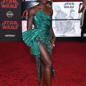 Lupita Looks Beautiful In Green At Star Wars: The Last Jedi premiere