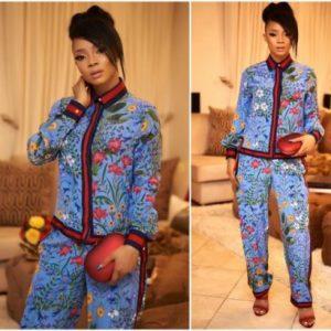 Toke Makinwa steps out in N1.1m Gucci Pajamas set (Photos)
