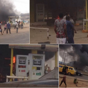 NNPC Fuel Station Along Lagos – Abeokuta Expressway Catches Fire