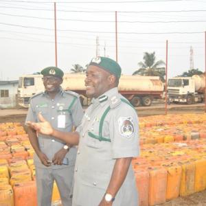 Photos : Nigerian Custom Seizes Over 2000 Smuggled Gallons of Petrol worth (N10million)