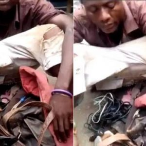 Photo And Video : Suspected Ritualist Who Pretends to Be a Mad Man Caught with Charms in Lagos