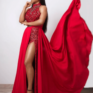 Photos : Toke Makinwa dazzles In Red For Royal Hibiscus Hotel Premiere .