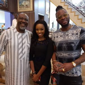 Senator Dino Melaye, Hosts #BBNaija's  Bambam And Teddy A