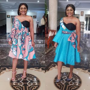 Actress Mercy Aigbe Rocked One Dress In Two Ways
