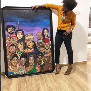 PHOTOS: Genevieve Nnaji Shows Of Painting From Fan that Portrays Her As A 'Queen'