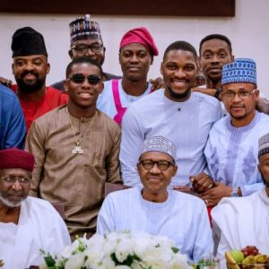 PHOTOS: President Buhari Breaks Fast With Sound Sultan, Tania Omotayo, Small Doctor And Tobi