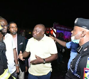 Photos Of Gov. Ambode Visit Tragedy Scene On Otedola Bridge Last Night