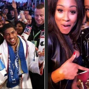 Photos: DJ Cuppy Pictured With Anthony Joshua After His Victory In London