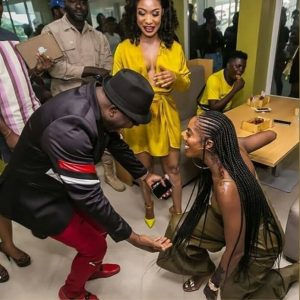 Photos: Actress Tonto Dikeh And Singer Tiwa Savage Spotted On Their Knees Greeting Sir Shina Peters