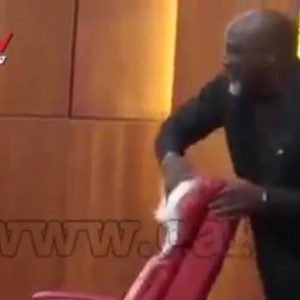 Senator Dino Melaye Uses Handkerchief To Clean 'JUJU' from Bukola Saraki Seat (Photo / Video)
