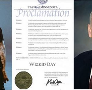 "US Minnesota Governor, Declares October 6 Of Every Year As ""WIZKID Day"""