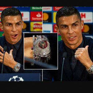 Photos: Ronaldo Shows Off £1.85 Million Diamond Watch Before Man Utd Clash