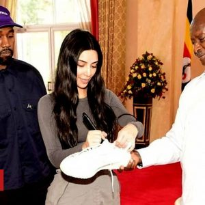 US Rapper Kanye West And Kim Gift Ugandan President A Pair Of Sneakers During Visit